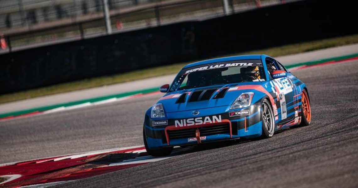 Barton Mawer at Super Lap Battle at Circuit of Americas February 2020 on the racetrack in a Nissan 350Z