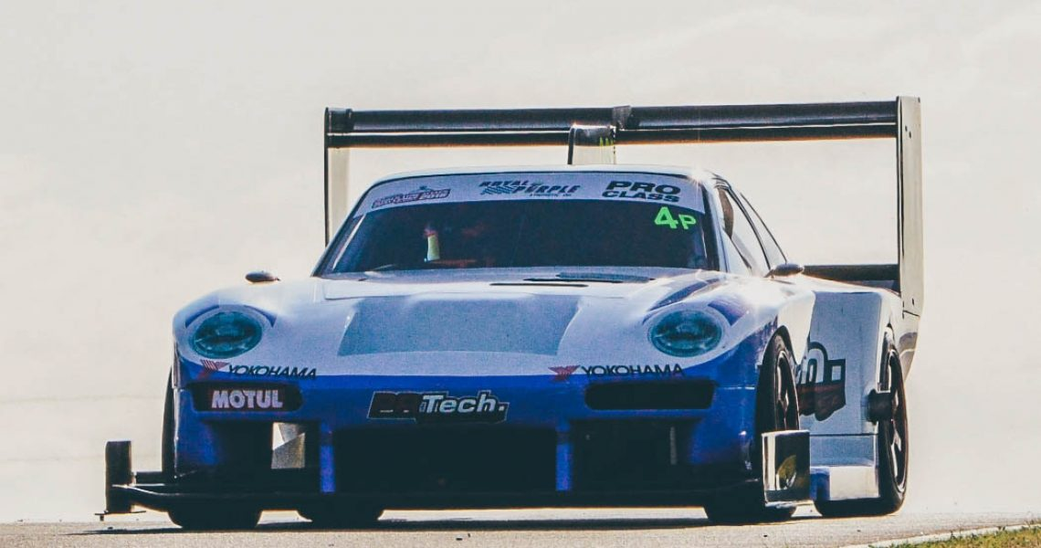 Barton Mawer driving the PR Technology Porsche for World Time Attack at Sydney Motorsport Park out on the track